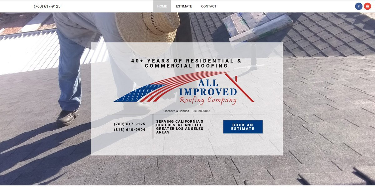desktop view of All Improved Roofing website