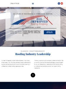 tablet view of All Improved Roofing website