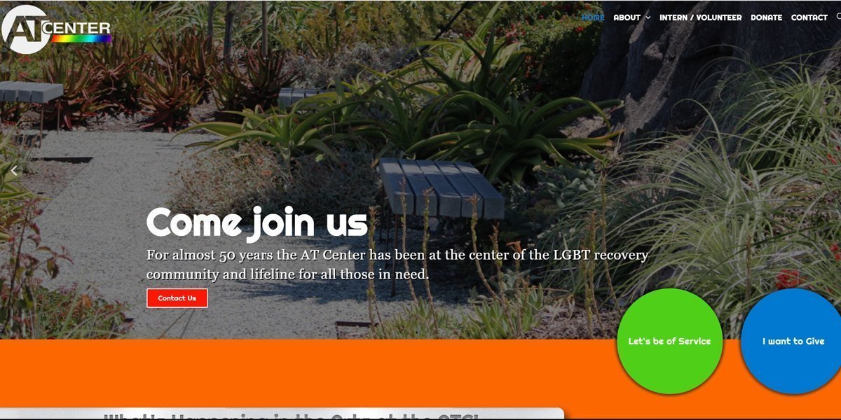 desktop view of AT Center LA website