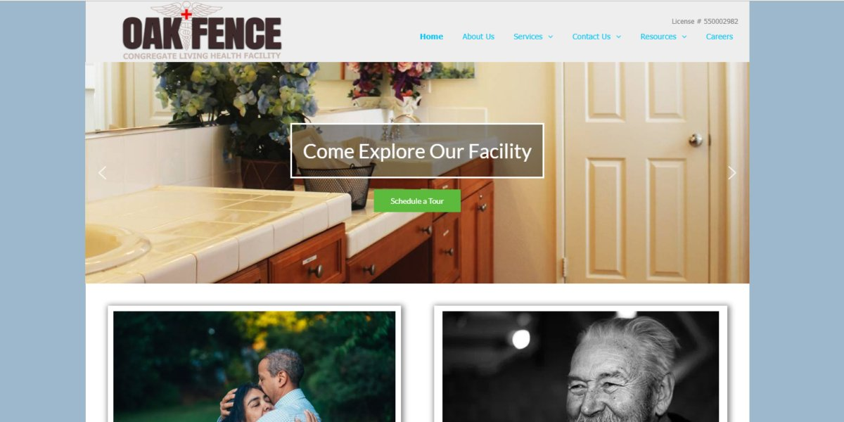 desktop view of Oak Fence Congregate website
