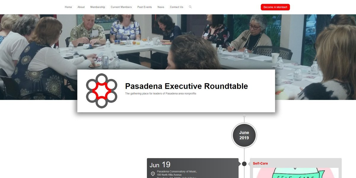 desktop view of Pasadena Executive Roundtable website