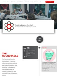 tablet view of Pasadena Executive Roundtable website