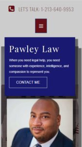 mobile view of Pawley Law website