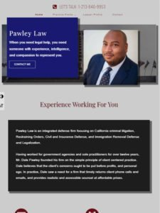tablet view of Pawley Law website