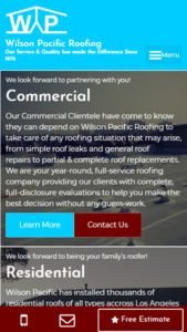 mobile view of Wilson Pacific Roofing website