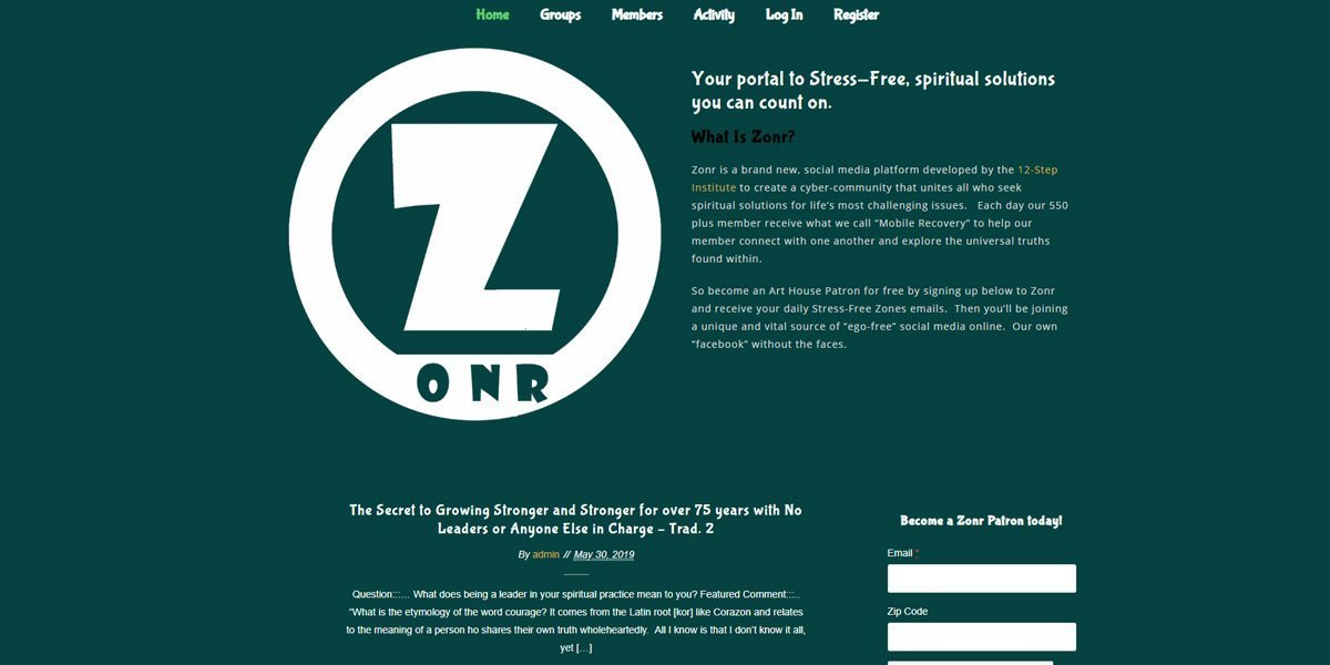 desktop view of Zonr website
